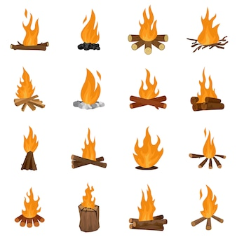 Bonfire night fire icons set vector isolated