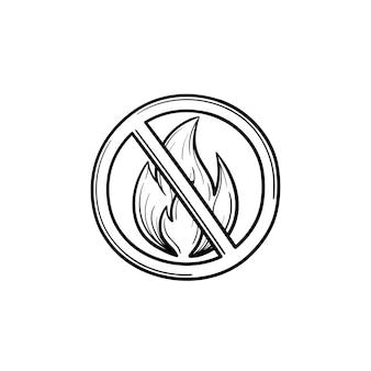 Костер запрещен знак рисованной наброски каракули значок. нет костра знак векторные иллюстрации эскиз для печати, интернета, мобильных устройств и инфографики, изолированные на белом фоне.