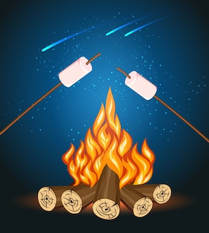 Bonfire with marshmallow, camping grill marshmallow vector illustration. marshmallow outdoor, campfire night, food marshmallow stick