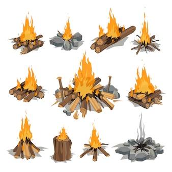 Bonfires isolated vector illustration.