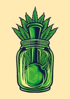 Бутылка bong weed leaf векторные иллюстрации для вашей работы логотип, футболка с товарами-талисманами, наклейки и дизайн этикеток, плакаты, поздравительные открытки, рекламные компании или бренды.