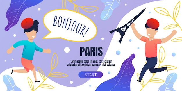 Bonjour paris banner template with happy children