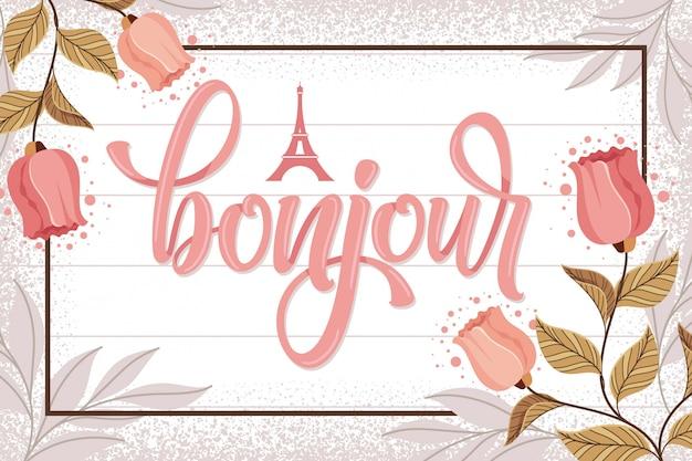 Bonjour paris lettering background