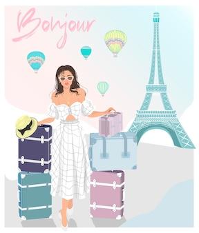 Bonjour. девушка путешествия, эйфелева башня, аэростаты и дорожные чемоданы. векторная иллюстрация.