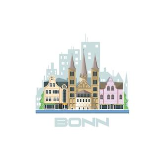 ボン市のスカイライン。古代の建築物のある街の風景