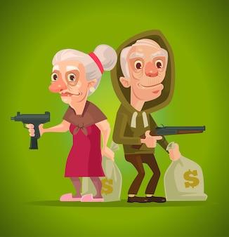ボニーとクライド。おばあちゃんとおじいちゃんのキャラクター泥棒。ベクトルフラット漫画イラスト