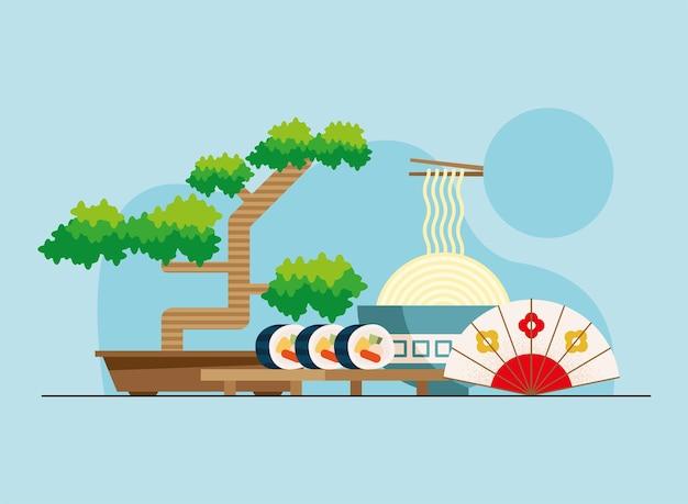 盆栽と日本の文化のアイコン