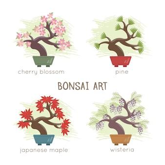 Коллекция дизайна бонсай