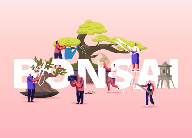 Bonsai growing illustration. people characters enjoying hobby caring, pruning and trimming bonsai trees.