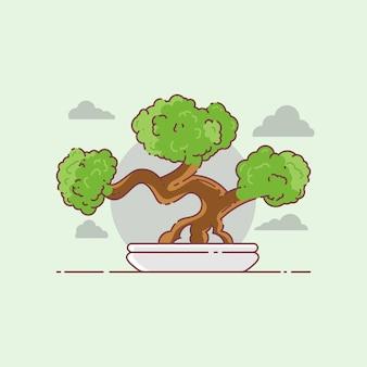盆栽モノラインバッジデザイン