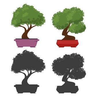 白い背景で隔離のポットベクトル漫画セットの盆栽の木。
