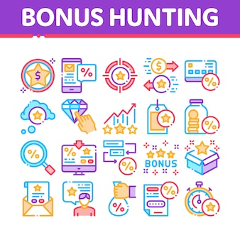 Bonus hunting collection elements icons set