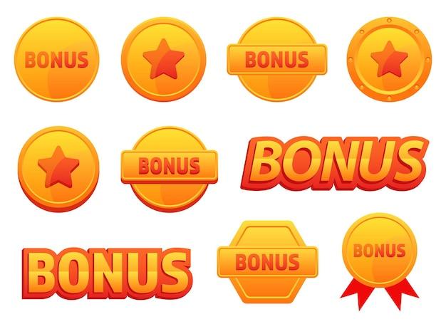 Иллюстрация дизайна набора иконок бонус, изолированные на белом фоне