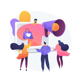 Бонусная программа, скидки и подарки, рекламная кампания. предложение для покупателей, продвижение товаров. промоутер с персонажем мультфильма мегафон. вектор изолированных иллюстрация метафоры концепции.