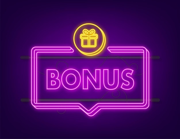 Bonus for promotion design. neon icon. discount banner promotion template. web template for marketing promo design. vector stock illustration.