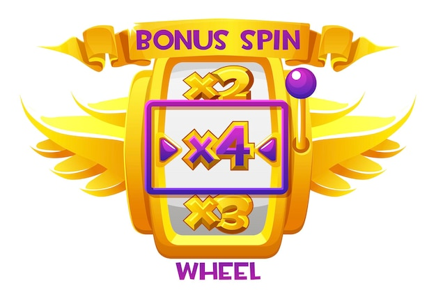 Bonus spin golden wheel with wings casino for ui games. vector illustration gambling luxury fortune machine for graphic design.