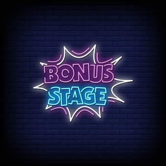 Bonus stage neon signs style text vector