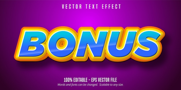 Bonus text, cartoon style editable text effect
