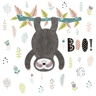 Boo! cute card with a sloth hanging from the tree