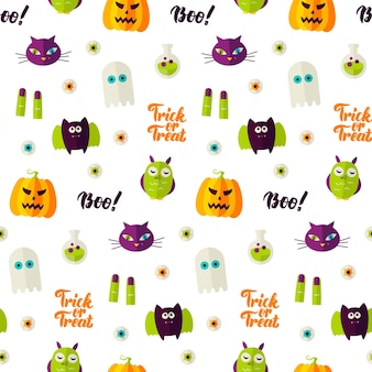 Boo halloween seamless pattern. vector illustration of holiday background. trick or treat.