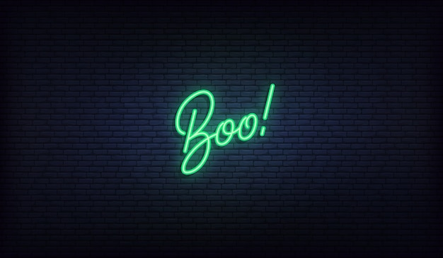 Boo lettering neon sign. halloween holiday design.