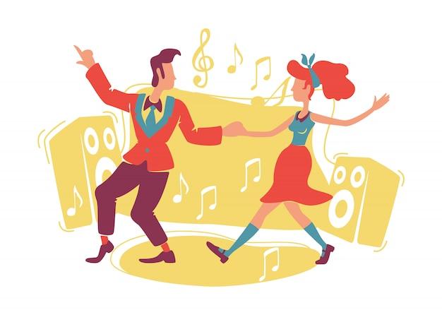 부기 우기 춤 웹 배너, 포스터. 만화 배경에 락 앤 롤 댄서 캐릭터.