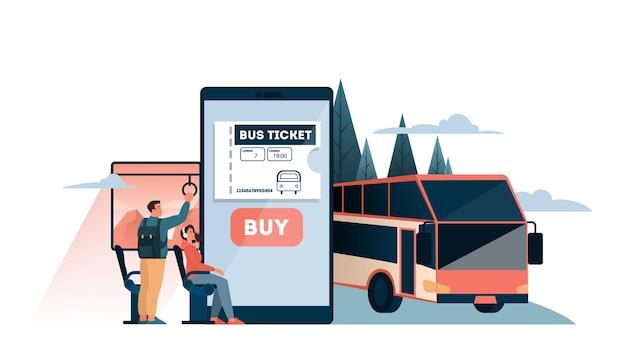 Забронируйте онлайн-концепцию автобусного билета. идея путешествий и туризма. планирование поездки онлайн. купить билет на автобус в приложении. иллюстрация