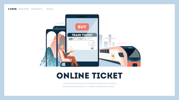 기차표 온라인 개념을 예약하십시오. 여행 및 관광에 대한 아이디어. 온라인 여행 계획. 앱에서 기차 티켓을 구매하세요. 삽화