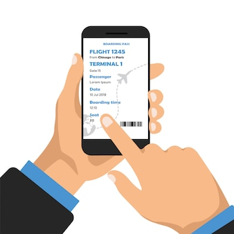 Book airplane seat online by app.  hand holds phone and buys ticket.