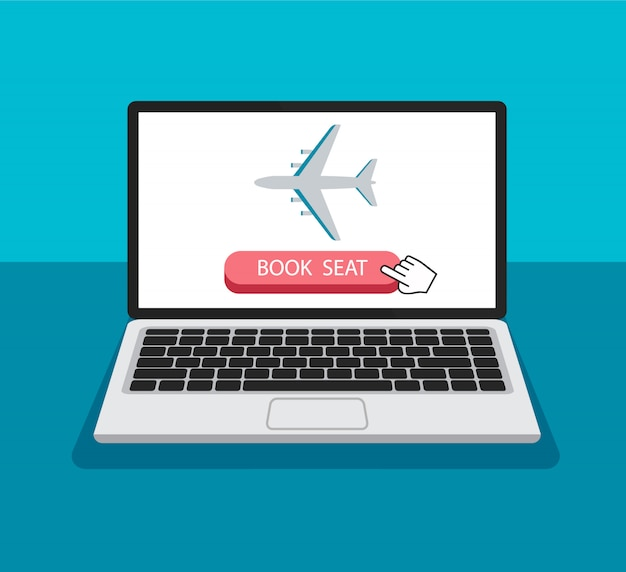 Book airplane seat online. the cursor clicks and push a button. buying airline ticket. travel web banner in a trendy style. technology concept.