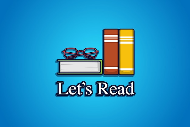 Книга и очки логотип иллюстрации шаржа