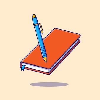 本とペンの漫画アイコンイラスト。教育オブジェクトアイコンの概念が分離されました。フラット漫画スタイル