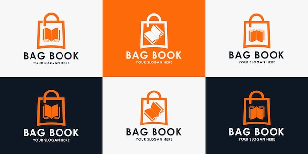 Book bag logo design, inspiration logo for bookstore, library and education