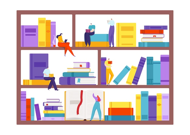 Book at bookshelf illustration