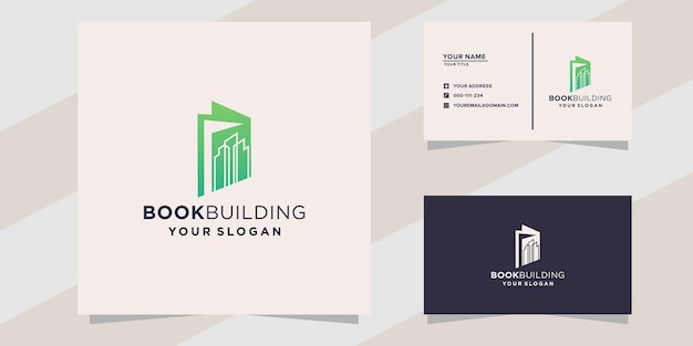 Book building logo and business card template