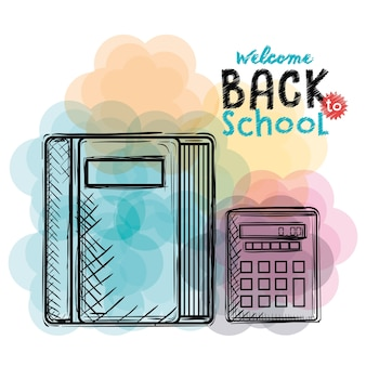 Book and calculator back to school drawings