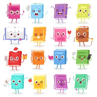 Book character  cartoon emotion textbook with childish face expression on notebook cover illustration