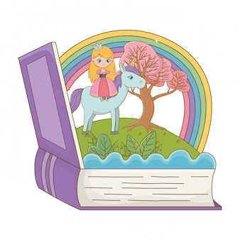 Book and character of fairytale design vector illustration
