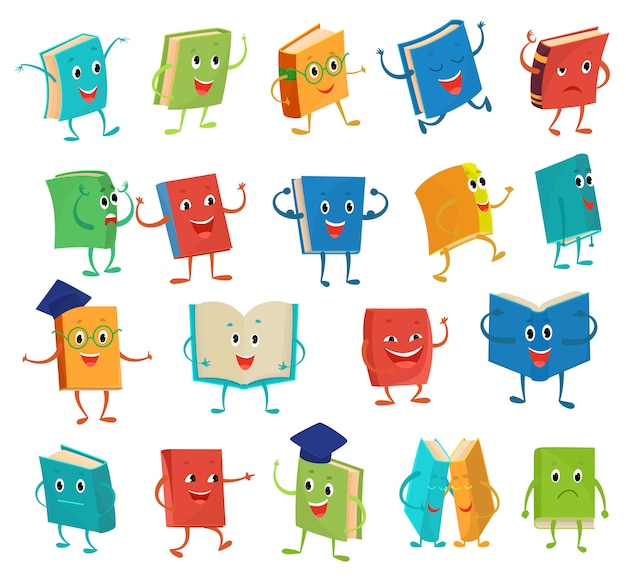 Book character vector cartoon emotion textbook with childish face expression