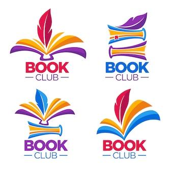 Книжный клуб, библиотека или магазин, шаблон мультяшного логотипа