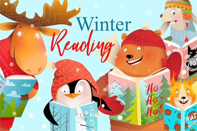 Book cover design for kids, animals reading winter christmas fairy tales or study.