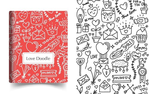 책 표지 디자인. 사랑 낙서 예술 그림