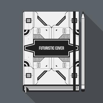 책 표지 디자인 서식 파일입니다. 노트북 모형. 기하학적 미래 요소.
