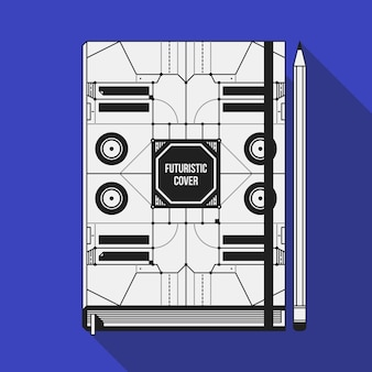 Book cover design template. notebook mockup. geometric futuristic elements.
