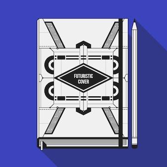 Дизайн шаблона обложки книги. макет ноутбука. геометрические футуристические элементы.