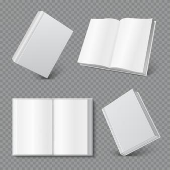 책 표지 모형. 현실적인 빈 책자 표지, 흰색 브로셔 표면, 빈 단행본 잡지