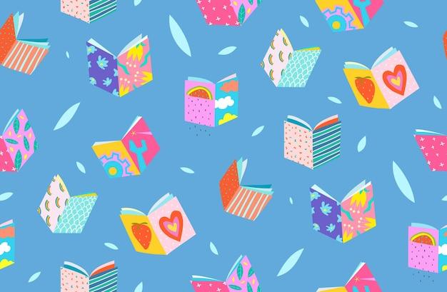 Book covers seamless pattern geometrical design
