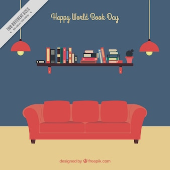 Book day background with red sofa