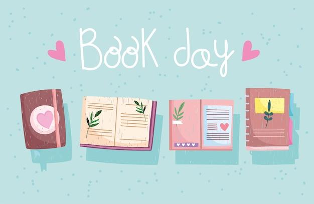 Книжный день иллюстрация с открытыми книгами