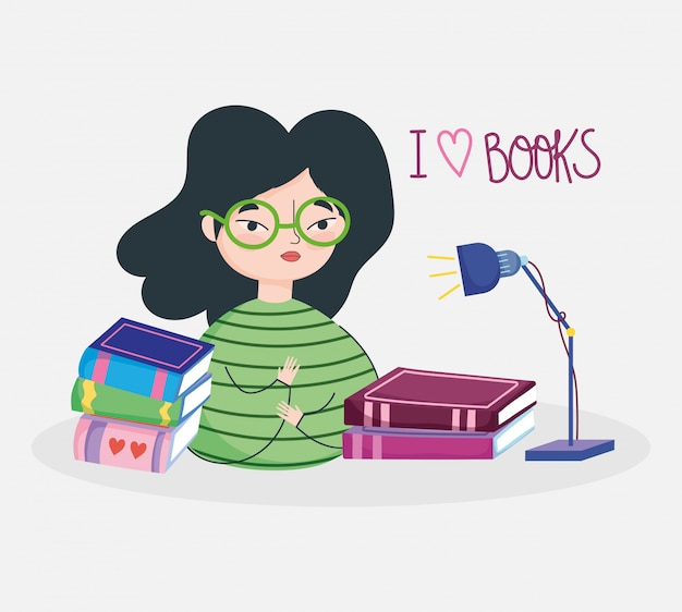 Book day, teen girl with glasses lamp and books